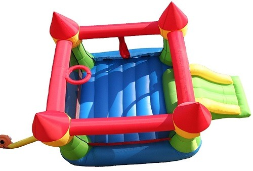Bounceland Castle W/Hoop on white background.