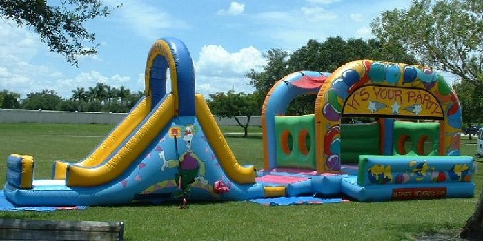 A bouncing inflatable playground