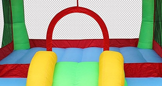 The Cloud 9 moon walked has mesh netting that keeps toddlers inside the playstructure