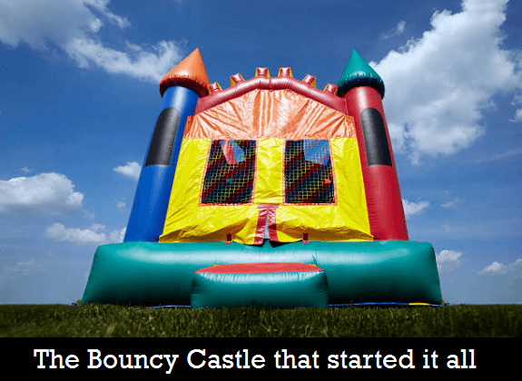 Fred and Glenn first bouncy castle for rental business